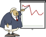 Sheep in a Business Suit, Pointing at a Graph Clipart